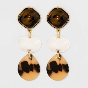 Mixed Media Tortoise Shell Resin Drop Earrings